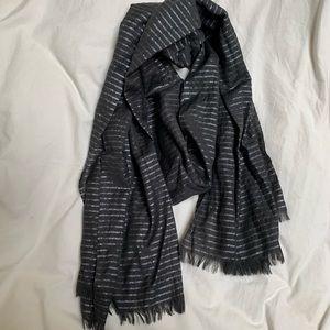 J crew gray and silver wool metallic striped scarf